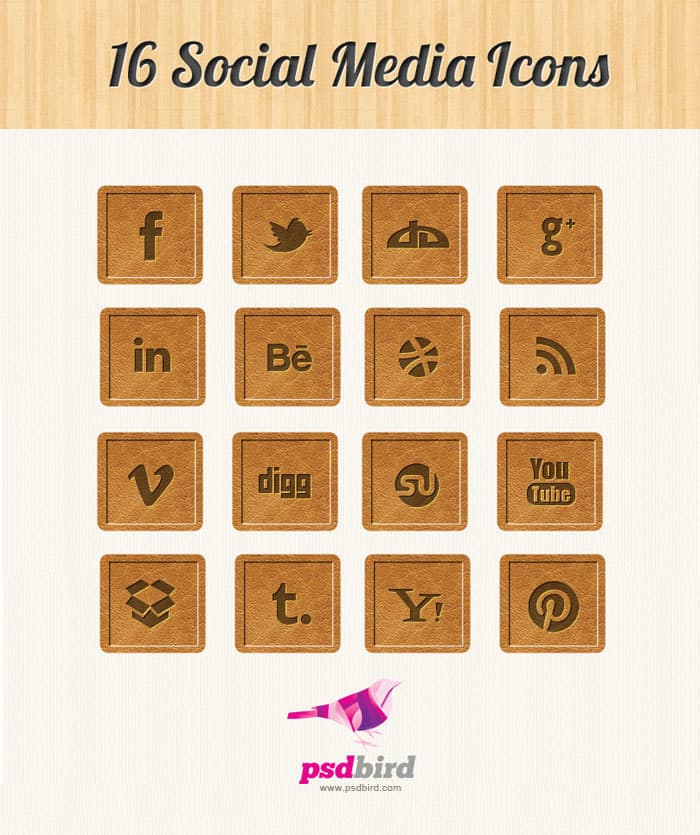 16 wooden style social media icons