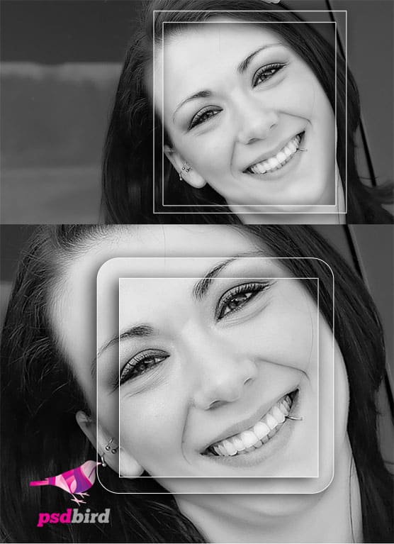 Glass style photo frame PSD