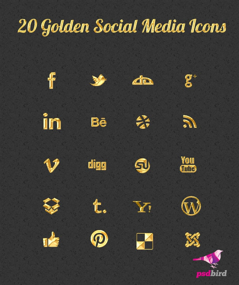 gold color social media icon PSD