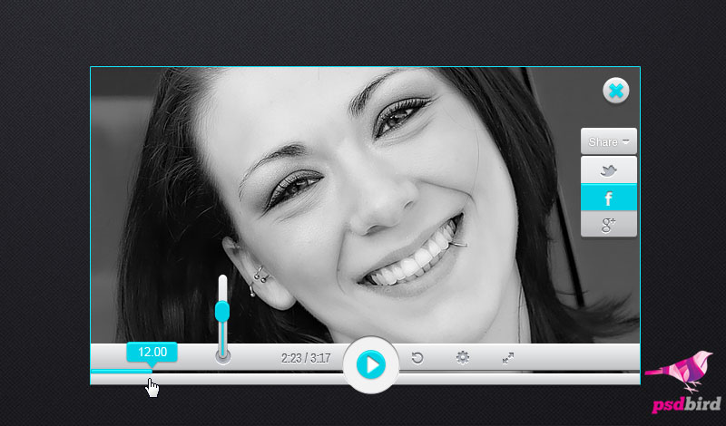 Free video player UI PSD