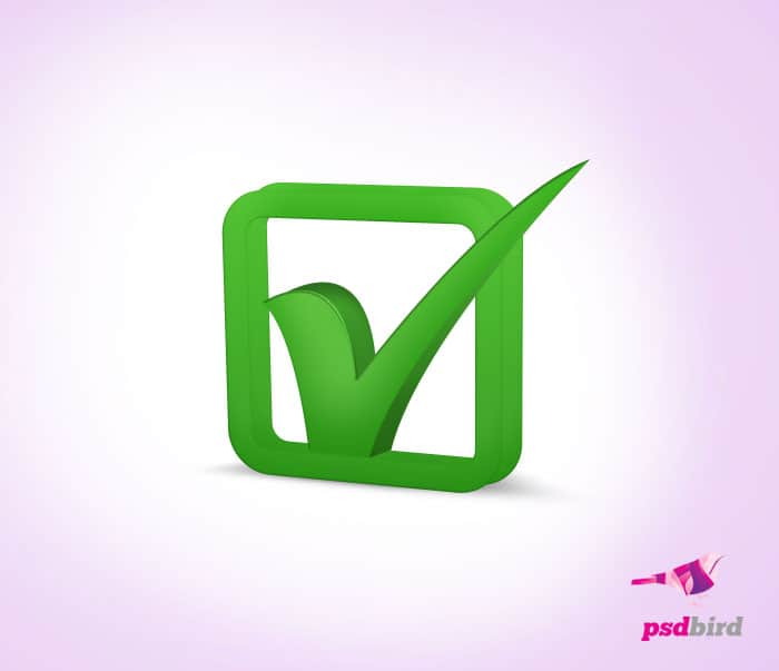 3d green check box icon
