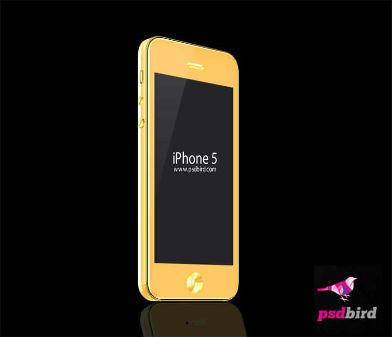 Free Golden iphone Mockup PSD