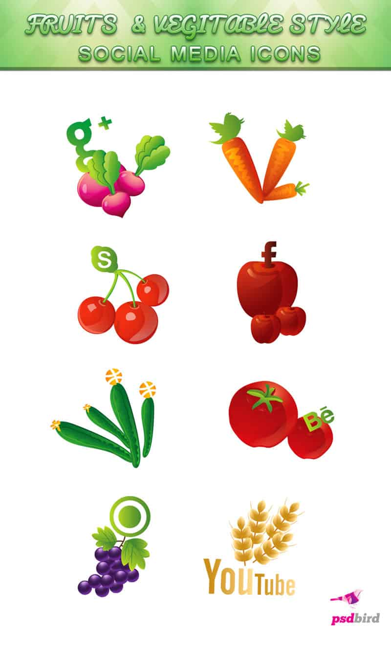 free fruit & vegetable social media icons