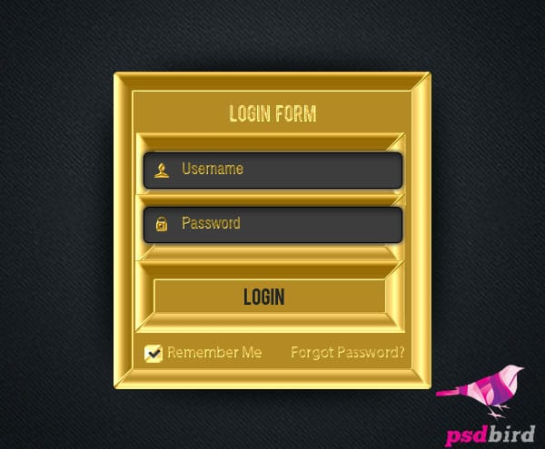 Free Golden Login Register Form PSD