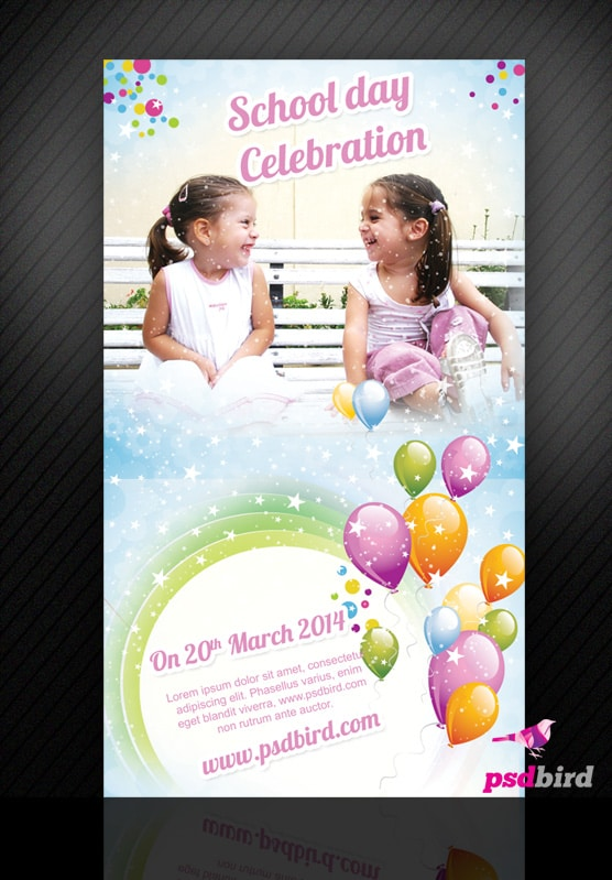 Free School Day Celebration Invitation Card PSD