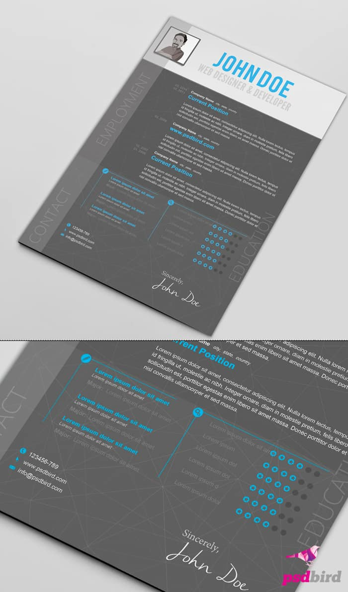 free creative resume templates psd