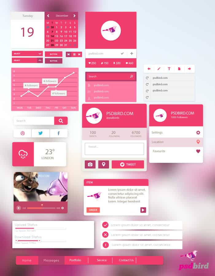 Free Flat UI Kit PSD With All Elements