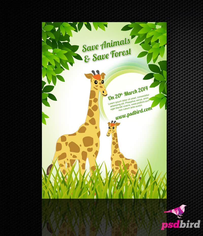 Free Save Animal - Save Forest Flyer PSD