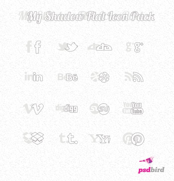 My Shadow - Free Modern Flat Social Media Icons PSD
