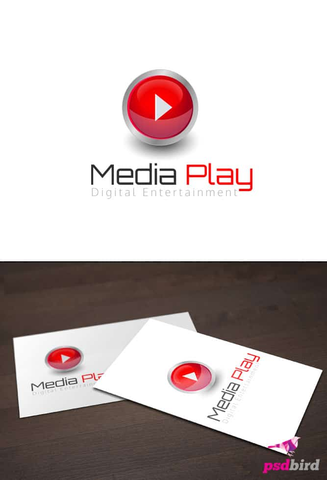 Free Media Play Logo Template PSD