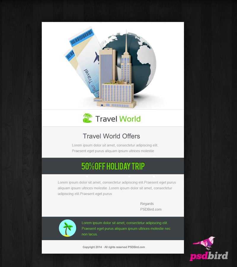 Free Email Template Design PSD - Travel World