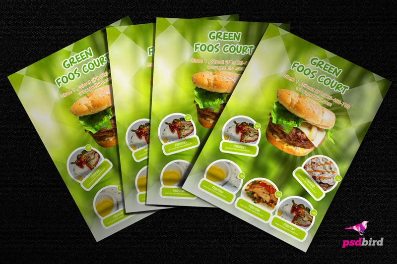 Free Green Food Court Flyer PSD For Food Business