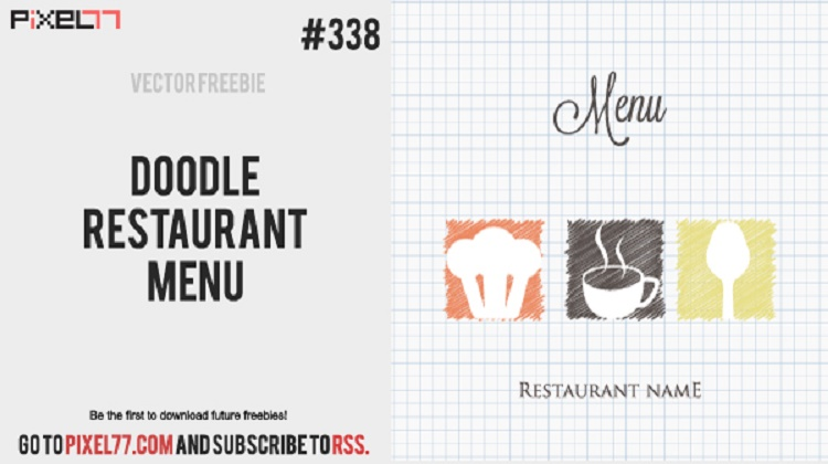 Doodle Restaurant Menu Cover- Vector AI File