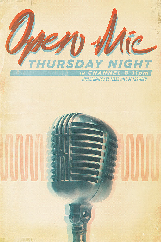 open mic poster by Christopher Gulczynski