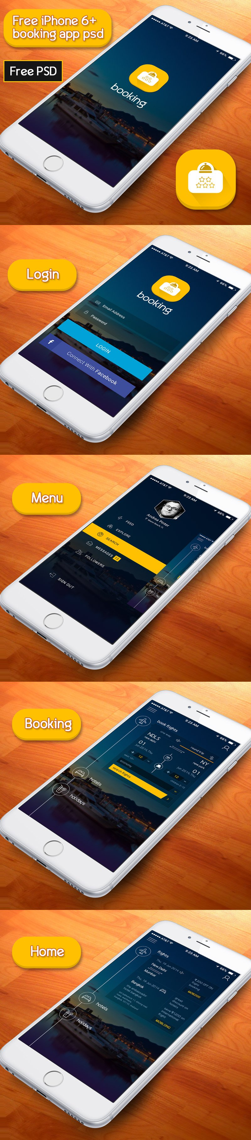 Free Booking App PSD According to iPhone 6