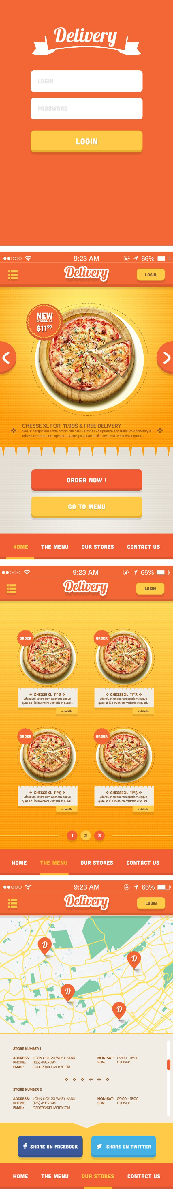 Delivery iPhone App UI Kit Psd
