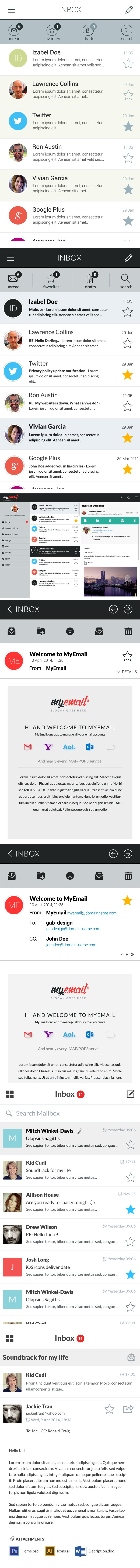 Myemail  App Interface PSD