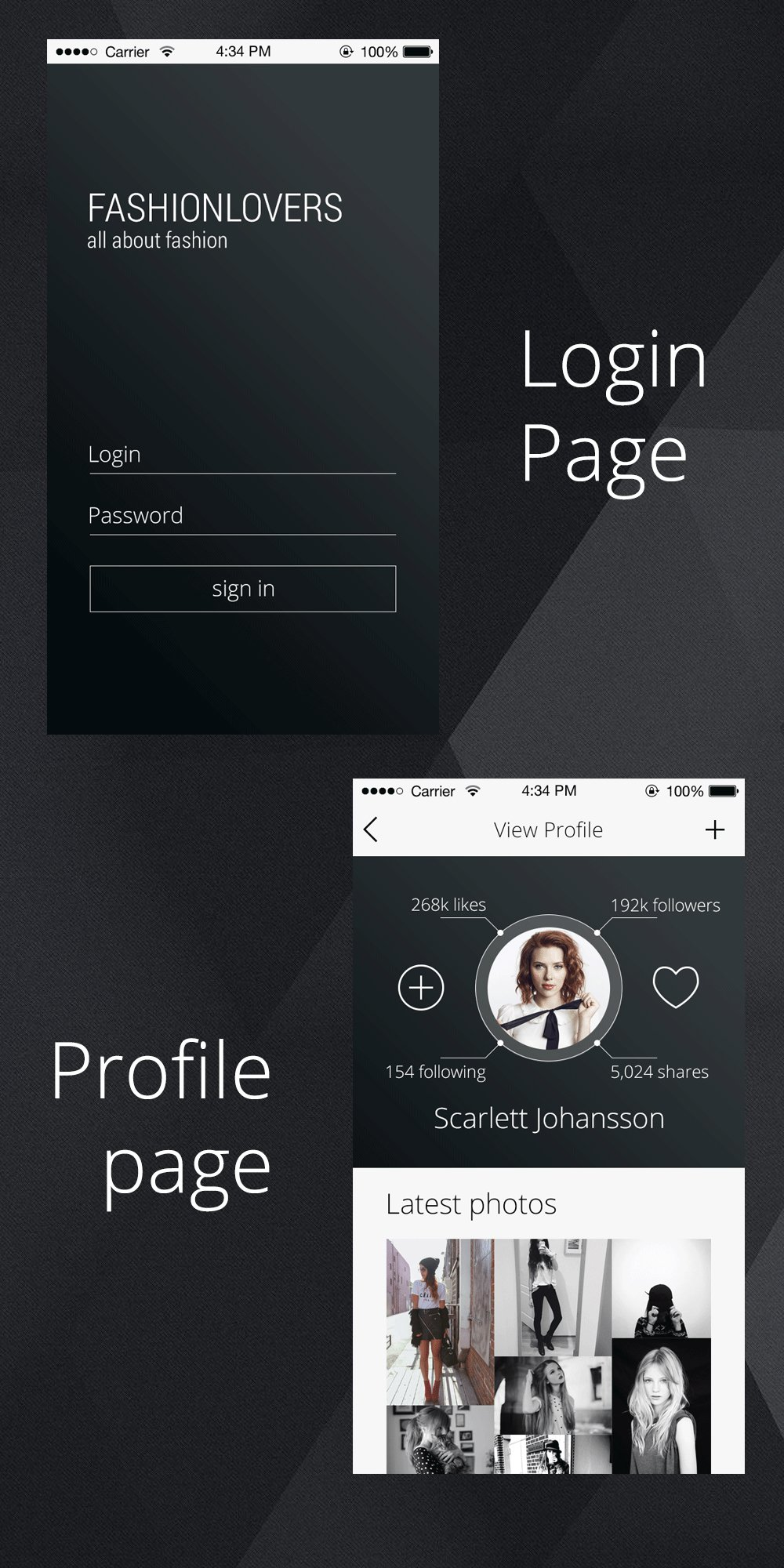 Profile Page PSD  for an iPhone App