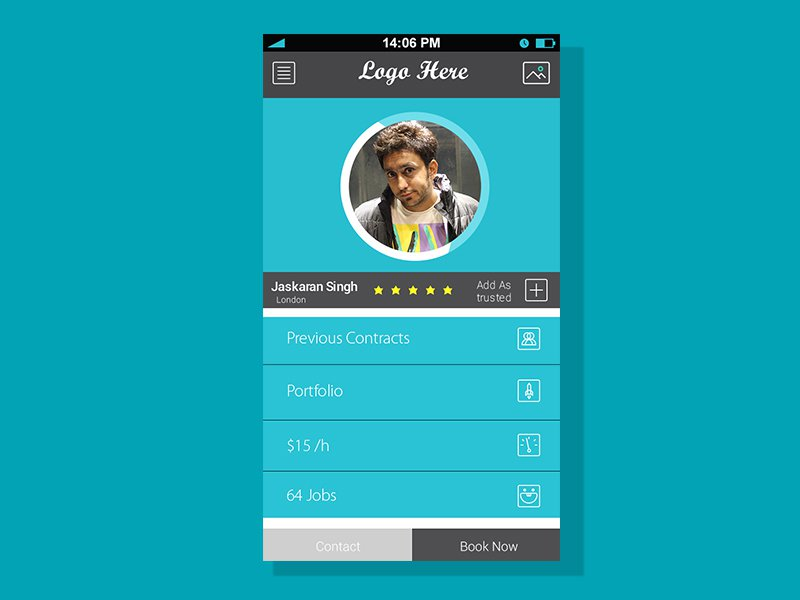 Profile Screen For Mobile App Free PSD