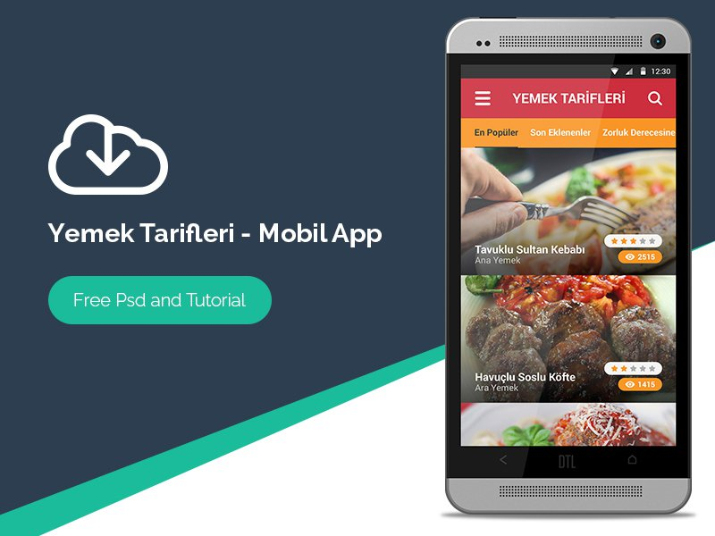 Recipe Andriod Mobile AppUI PSD