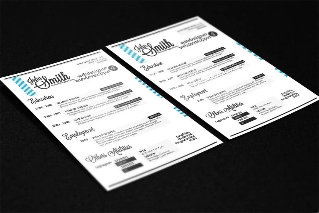 Free a4 Resume Design in PSD