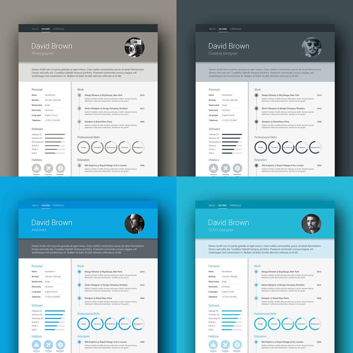 Grey Color Material Design Resume