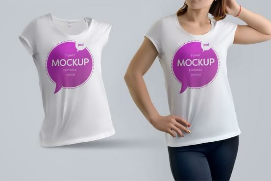 Free Woman T-shirt Template PSD