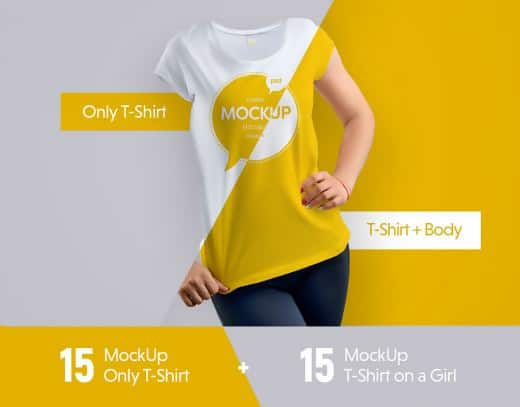 30 White T-Shirt Template Set