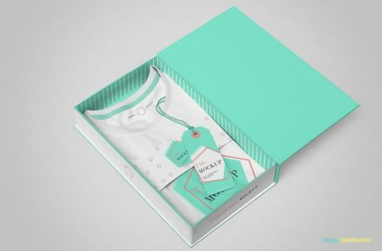 White T-Shirt In A Box Template