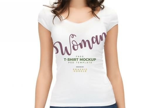 Woman Wearing White T-Shirt Free Template