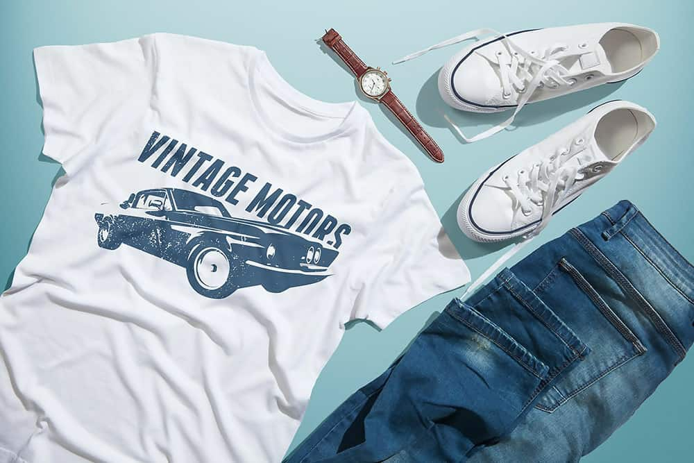 Men's T-shirt Mockup Template With Shoes, Jeans & Wristwatch