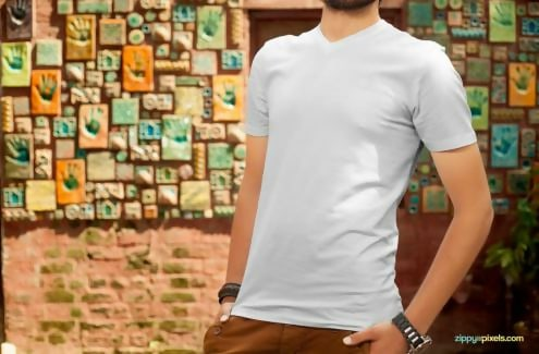 Plain White T-shirt Template PSD