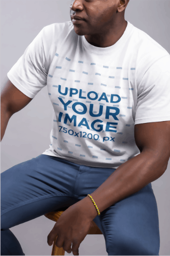 Man Model Wearing Bracelet & White T-Shirt Template