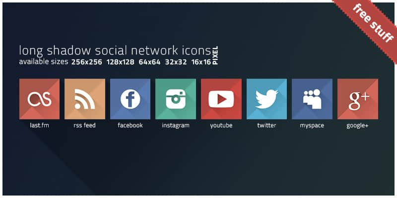 Long Shadow Social Network Icons