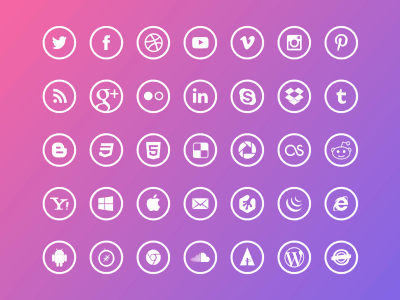 Outline Social Icons (35 Sketch Format Icons)
