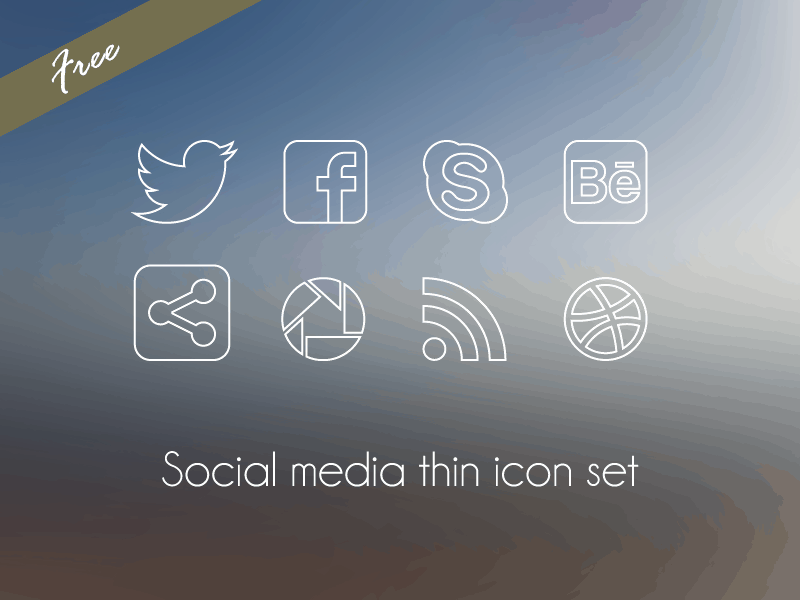 Social Media Thin Icon Set
