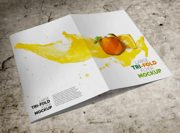 Large Trifold Brochure Mockup Template PSD Download