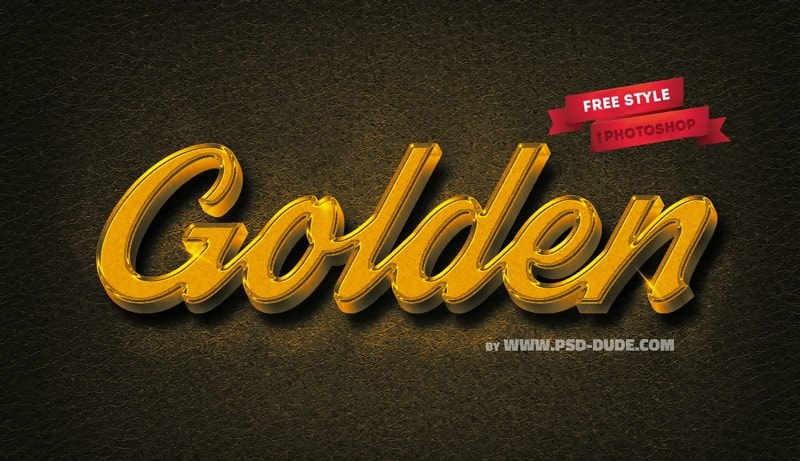 Elegant 3D Gold Text Effect PSD