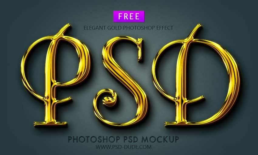 Gold Text Style PSD Mockup