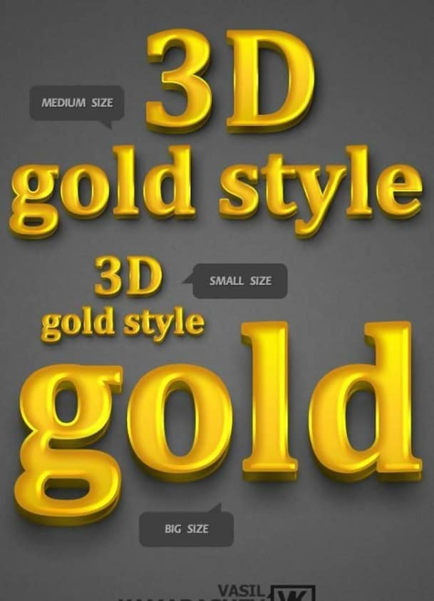 3D Gold Photoshop Style