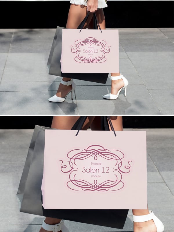 Free Shopping Bag Mockup with Model
