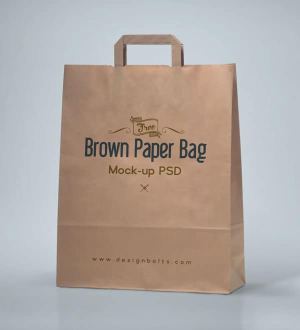 Free Packaging Mockup PSD of Brown Shopping Bag