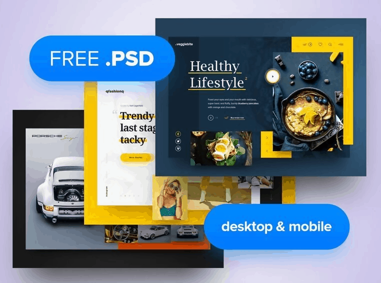 3x Mobile/Desktop Header Template PSD