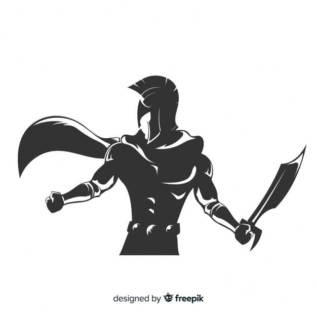 Spartan Warrior with Sword Silhouette 31