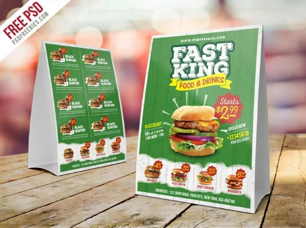 Free Fast Food Menu Table Tent
