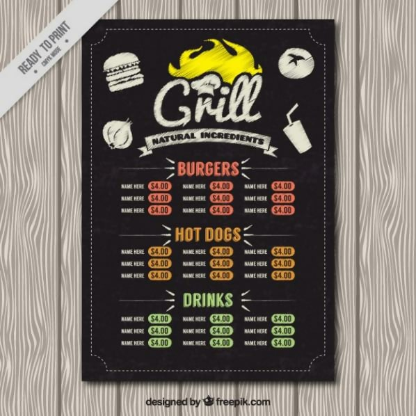 Free Grill Menu in Blackboard