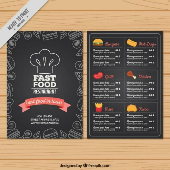 Free Hand-Drawn Fast Food Menu