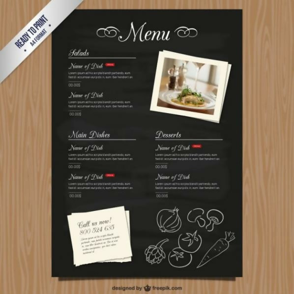 Free Cmyk Restaurant Menu Template