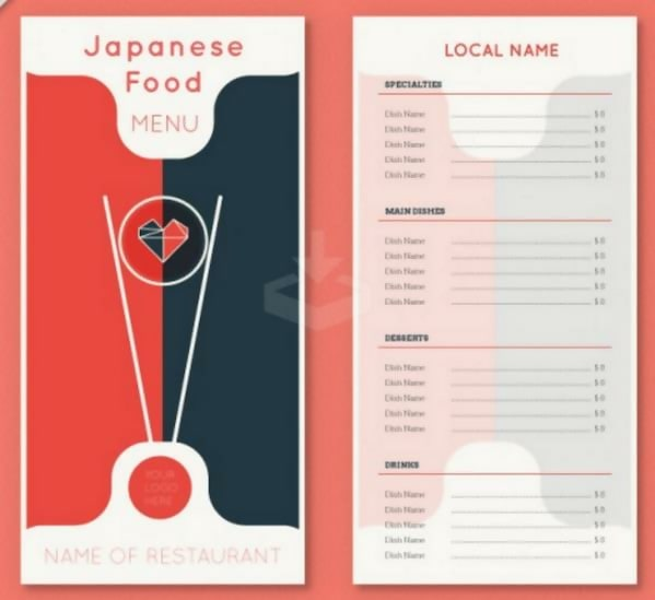 Free Japanese Food Menu Template