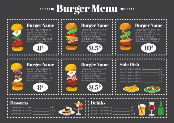 Free Burger Menu Template
